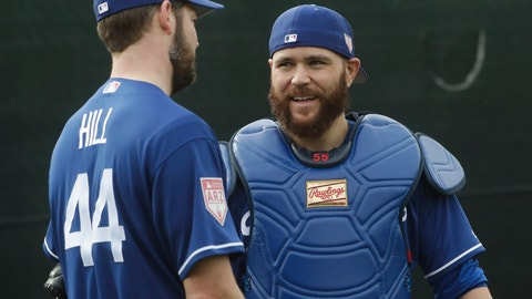 <p>               Los Angeles Dodgers catcher Russell Martin talks to pitcher Rich Hill during a spring training baseball workout Wednesday, Feb. 13, 2019, in Glendale, Ariz. (AP Photo/Morry Gash)             </p>