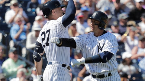 <p>               New York Yankees' Troy Tulowitzki, right, celebrates with Giancarlo Stanton after hitting a solo home run in the first inning during a spring training baseball game against the Toronto Blue Jays, Monday, Feb. 25, 2019, in Tampa, Fla. (AP Photo/Lynne Sladky)             </p>
