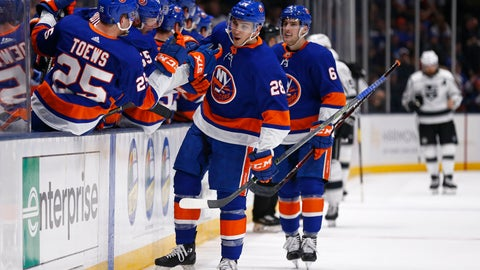 <p>               New York Islanders left wing Michael Dal Colle (28) celebrates with teammates after scoring a goal against the Los Angeles Kings in the third period of an NHL hockey game Saturday, Feb. 2, 2019, in Uniondale, N.Y. The Islanders won 4-2. (AP Photo/Adam Hunger)             </p>