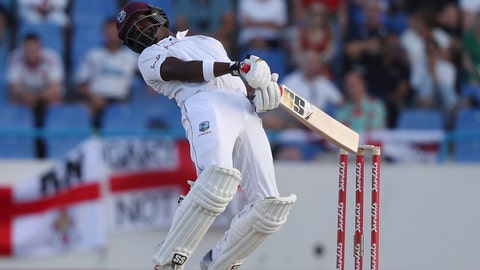 <p>               West Indies' Darren Bravo avoids a deliver of England's Ben Stokes during day two of the second Test cricket match at the Sir Vivian Richards Stadium in North Sound, Antigua and Barbuda, Friday, Feb. 1, 2019. (AP Photo/Ricardo Mazalan)             </p>