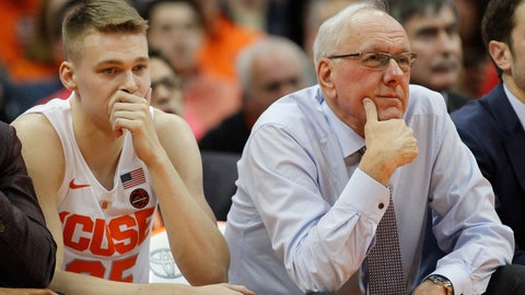 <p>               Syracuse coach Jim Boeheim, right, and his son Buddy Boeheim, left, sit on the bench in the final minutes of the team's NCAA college basketball game against Duke in Syracuse, N.Y., Saturday, Feb. 23, 2019. Duke won 75-65. (AP Photo/Nick Lisi)             </p>