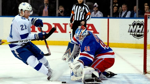 <p>               New York Rangers goalie Alexander Georgiev blocks a shot by Tampa Bay Lightning's Brayden Point during the first period of an NHL hockey game Wednesday, Feb. 27, 2019, at Madison Square Garden in New York. (AP Photo/Craig Ruttle)             </p>