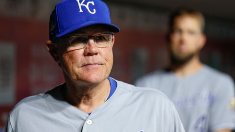 """<p>               FILE - In this Sept. 25, 2018, file photo, Kansas City Royals manager Ned Yost stands in the dugout during the fourth inning of the team's baseball game against the Cincinnati Reds,  in Cincinnati. """"I was so enthused with the progress we made in the last half of the season last year, how well these kids played,"""" Yost said. """"All the hard work they put in every single day when nobody was looking, it finally started to pay off for them the last six weeks. I just think we continue to pick up where we left off. Where we left off is OK."""" (AP Photo/John Minchillo, File)             </p>"""
