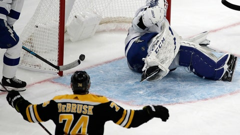 <p>               Boston Bruins left wing Jake DeBrusk (74) watches his shot go in for a goal against Tampa Bay Lightning goaltender Louis Domingue (70) in the second period of an NHL hockey game, Thursday, Feb. 28, 2019, in Boston. (AP Photo/Elise Amendola)             </p>