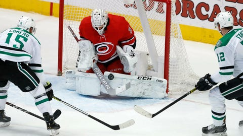 <p>               Carolina Hurricanes goaltender Curtis McElhinney (35) defends the goal against Dallas Stars left wing Blake Comeau (15) and center Radek Faksa (12) during the second period of an NHL hockey game in Dallas, Saturday, Feb. 23, 2019. (AP Photo/LM Otero)             </p>