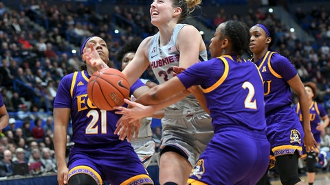 <p>               Connecticut's Katie Lou Samuelson (33) is fouled in the first half of an NCAA college basketball game against East Carolina Wednesday, Feb. 6, 2019 in Hartford, Conn. (AP Photo/Stephen Dunn)             </p>