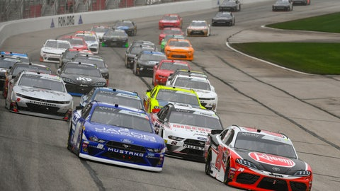 <p>               Cole Cluster, left, and Christopher Bell, right, lead at the start of the NASCAR XFinity at Atlanta Motor Speedway, Saturday, Feb. 23, 2019, in Hampton, Ga. (AP Photo/John Amis)             </p>