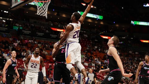 <p>               Phoenix Suns forward Josh Jackson (20) shoots against Miami Heat center Hassan Whiteside (21) during the first half of an NBA basketball game Monday, Feb. 25, 2019, in Miami, Fla. (AP Photo/Brynn Anderson)             </p>