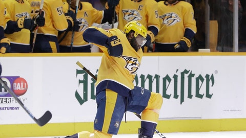 <p>               Nashville Predators defenseman P.K. Subban celebrates after scoring a goal against the Edmonton Oilers in the second period of an NHL hockey game Monday, Feb. 25, 2019, in Nashville, Tenn. (AP Photo/Mark Humphrey)             </p>