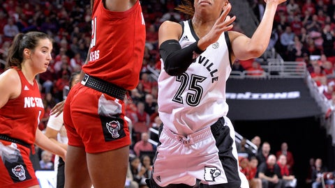 <p>               Louisville guard Asia Durr (25) attempts an off-balance shot over North Carolina State forward DD Rogers (21) during the second half of an NCAA college basketball game in Louisville, Ky., Thursday, Feb. 28, 2019. Louisville won 92-62 (AP Photo/Timothy D. Easley)             </p>