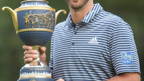 <p>               U.S. golfer Dustin Johnson poses with his Mexico Championship trophy at the Chapultepec Golf Club in Mexico City, Sunday, Feb. 24, 2019. (AP Photo/Christian Palma)             </p>