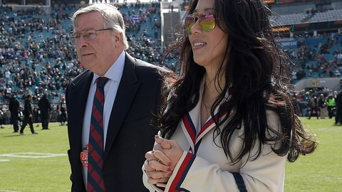 """<p>               FILE - In this Jan. 7, 2018, file photo, Buffalo Bills owners Terry and Kim Pegula walk on the sideline before an NFL wild-card playoff football game against the Jacksonville Jaguars in Jacksonville, Fla. Pegula Sports and Entertainment, the parent company that owns the NFL Buffalo Bills and NHL Sabres is experiencing a major shake-up following the departures of three top executives.  PSE CEO and president Kim Pegula says the changes come after she had been """"continuously evaluating our organizations"""" since taking over her current title in May. Pegula remains confident in the company's leaders and says the positions will be filled as deemed necessary. (AP Photo/Phelan M. Ebenhack, File)             </p>"""
