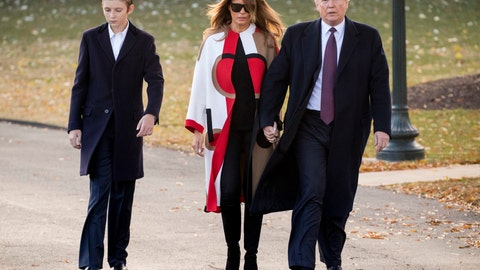 """<p>               FILE- In this Nov. 20, 2018, file photo President Donald Trump accompanied by first lady Melania Trump, and their son Barron, left, walks towards Marine One on the South Lawn of the White House in Washington. Trump says he wouldn't steer son Barron toward football, saying it's """"a dangerous sport,"""" but also wouldn't stand in the way if the soccer-playing 12-year-old wanted to put on pads. The NFL fan tells CBS' """"Face the Nation"""" in an interview taped before the Super Bowl that football is """"really tough."""" (AP Photo/Andrew Harnik, File)             </p>"""