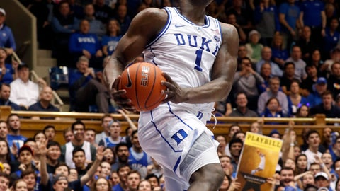 <p>               Duke's Zion Williamson (1) drives to the hoop against Boston College during the second half of an NCAA college basketball game in Durham, N.C., Tuesday, Feb. 5, 2019. (AP Photo/Chris Seward)             </p>