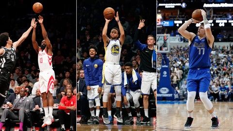 <p>               FILE - At left, in a Feb. 6, 2018, file photo, Brooklyn Nets center Jarrett Allen (31) defends as Houston Rockets guard James Harden (13) take a three-point shot during the first half of an NBA basketball game, in New York. At center, in an Oct. 28, 2018, file photo, Golden State Warriors react as teammate Stephen Curry shoots a three-point basket during the first half of an NBA basketball game against the Brooklyn Nets, in New York. At right, in a Feb. 6, 2019, file photo, Dallas Mavericks' Luka Doncic (77) attempts a three-point basket during an NBA basketball game against the Charlotte Hornets, in Dallas. The step-back 3-pointer is the perfect weapon for the modern NBA, practically a necessity in a game where the ability to find space to shoot from behind the arc is more valued than ever before. (AP Photo/File)             </p>