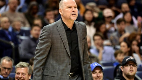 <p>               Denver Nuggets head coach Michael Malone calls to players in the first half of an NBA basketball game against the Memphis Grizzlies Monday, Jan. 28, 2019, in Memphis, Tenn. (AP Photo/Brandon Dill)             </p>