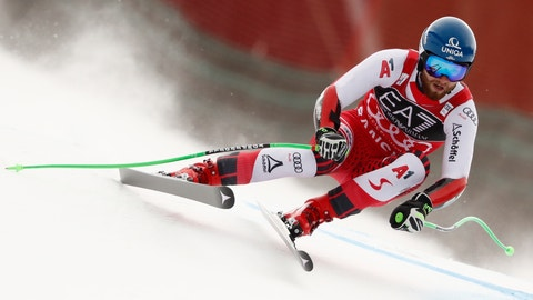 <p>               Austria's Marco Schwarz competes during the first run of an alpine ski, men's World Cup combined, in Bansko, Bulgaria, Friday, Feb. 22, 2019. (AP Photo/Gabriele Facciotti)             </p>