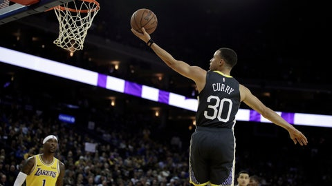 <p>               Golden State Warriors' Stephen Curry (30) lays up a shot against the Los Angeles Lakers in the second half of an NBA basketball game Saturday, Feb. 2, 2019, in Oakland, Calif. (AP Photo/Ben Margot)             </p>