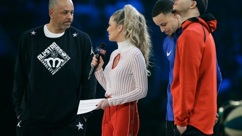 <p>               Dell Curry and son's Stephen Curry and Seth Curry are interviewed during the NBA All-Star 3-Point contest, Saturday, Feb. 16, 2019, in Charlotte, N.C. (AP Photo/Chuck Burton)             </p>