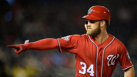 <p>               FILE - In this Sept. 8, 2018, file photo, Washington Nationals' Bryce Harper pointing to the dugout after he hit a two-run home run during the seventh inning of the second baseball game of a doubleheader against the Chicago Cubs, in Washington.  As the start of spring training approaches, the Washington Nationals are waiting right along with the rest of the world to find out where Harper will be playing next season.  (AP Photo/Nick Wass, File)             </p>