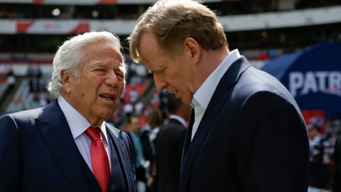 <p>               FILE - In this Nov. 19, 2017, file photo, NFL Commissioner Roger Goodell, right, talks with New England Patriots owner Robert Kraft before the Patriots face the Oakland Raiders in an NFL football game in Mexico City. Pending the completion of police investigations in Florida, and likely a league probe as well, Goodell could punish Kraft for being charged with two counts of soliciting a prostitute. The 77-year-old Kraft was twice videotaped in a sex act at a shopping-center massage parlor in Florida, police said Friday, Feb. 22, 2019. (AP Photo/Rebecca Blackwell, File)             </p>