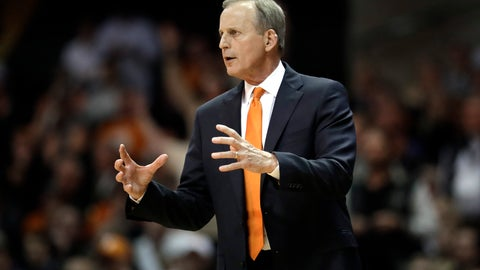 <p>               FILE - In this Jan. 23, 2019, file photo, Tennessee head coach Rick Barnes watches the action in the second half of an NCAA college basketball game against Vanderbilt in Nashville, Tenn. The Volunteers don't have a single top-100 recruit on their roster, yet they're ranked No. 1 and have a school-record 17 straight victories for the longest active winning streak of any Division I team. (AP Photo/Mark Humphrey, File)             </p>