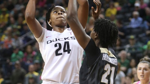 <p>               Oregon's Ruthy Hebard, left, shoots over Colorado's Mya Hollingshed during the first half of an NCAA college basketball game Sunday, Feb. 3, 2019, in Eugene, Ore. (AP Photo/Chris Pietsch)             </p>