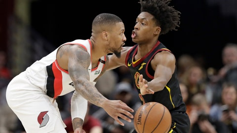 <p>               Portland Trail Blazers' Damian Lillard, left, passes against Cleveland Cavaliers' Collin Sexton in the second half of an NBA basketball game, Monday, Feb. 25, 2019, in Cleveland. Portland won 123-110. (AP Photo/Tony Dejak)             </p>