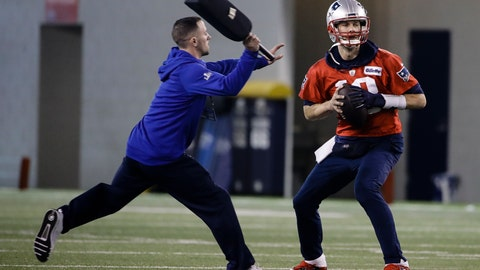 <p>               New England Patriots quarterback Tom Brady looks to pass during NFL football practice, Friday, Feb. 1, 2019, in Atlanta, as the team prepares for Super Bowl 53 against the Los Angeles Rams. (AP Photo/Matt Rourke)             </p>