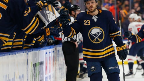 <p>               Buffalo Sabres forward Sam Reinhart (23) celebrates his goal with teammates during the first period of an NHL hockey game against the Washington Capitals, Saturday, Feb. 23, 2019, in Buffalo N.Y. (AP Photo/Jeffrey T. Barnes)             </p>
