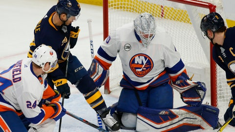 <p>               Buffalo Sabres forward Jason Pominville (29) is stopped by New York Islanders goalie Robin Lehner (40) during the first period of an NHL hockey game, Tuesday, Feb. 12, 2019, in Buffalo N.Y. (AP Photo/Jeffrey T. Barnes)             </p>