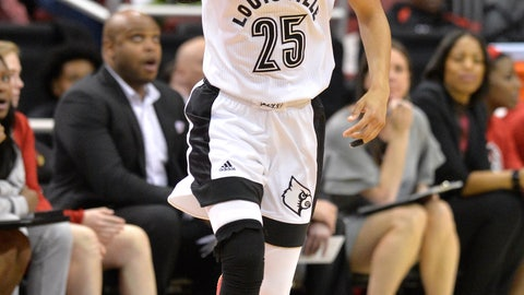 <p>               Louisville guard Asia Durr (25) celebrates after hitting a 3-point shot during the first half of the team's NCAA college basketball game against North Carolina State in Louisville, Ky., Thursday, Feb. 28, 2019. (AP Photo/Timothy D. Easley)             </p>