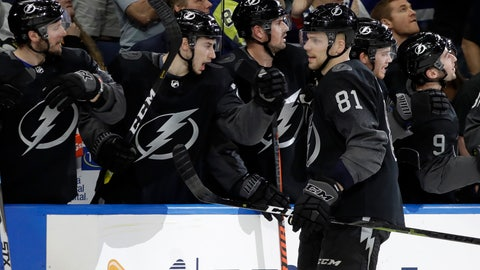 <p>               Tampa Bay Lightning defenseman Erik Cernak (81)celebrates his goal against the Pittsburgh Penguins with the bench during the first period of an NHL hockey game Saturday, Feb. 9, 2019, in Tampa, Fla. (AP Photo/Chris O'Meara)             </p>