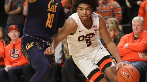 <p>               Oregon State's Ethan Thompson (5) skirts past California's Justice Sueing (10) during the second half of an NCAA college basketball game in Corvallis, Ore., Saturday, Feb. 9, 2019. Oregon State won, 79-71. (AP Photo/Amanda Loman)             </p>