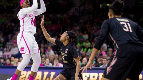 <p>               Notre Dame's Arike Ogunbowale (24) shots in front of Florida State's Nicki Ekhomu (12) during the first half of an NCAA college basketball game Sunday, Feb. 10, 2019, in South Bend, Ind. (AP Photo/Robert Franklin)             </p>