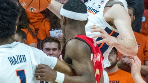 <p>               Illinois forward Giorgi Bezhanishvili (15) looks to pass out a offensive rebound to Illinois guard Trent Frazier (1) who is being guarded by Nebraska guard Glynn Watson Jr. (5) during an NCAA college basketball game in Champaign, Ill., Saturday. Feb. 2, 2019. (AP Photo/Robin Scholz)             </p>