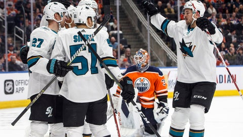 <p>               The San Jose Sharks celebrate a goal as Edmonton Oilers goalie Cam Talbot (33) looks on during the first period of an NHL hockey game, Saturday, Feb. 9, 2019, in Edmonton, Alberta. (Jason Franson/The Canadian Press via AP)             </p>