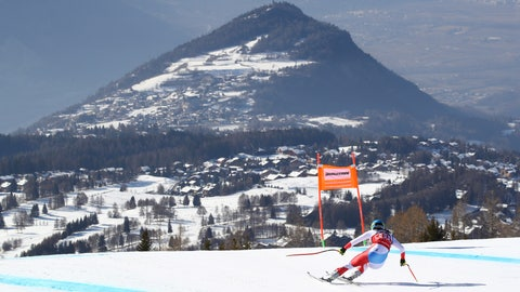 <p>               Switzerland's Wendy Holdener speeds down the course during a women's World Cup combined, in Crans Montana, Switzerland, Sunday, Feb. 23, 2019. (AP Photo/Alessandro Trovati)             </p>