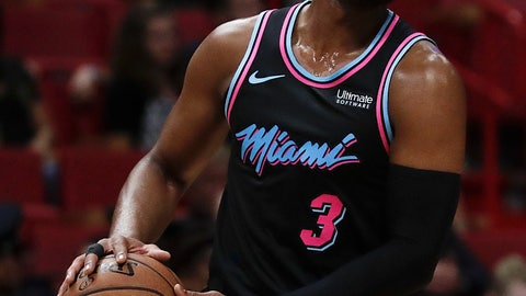 <p>               Miami Heat guard Dwyane Wade in action in the first half of an NBA basketball game against the Indiana Pacers, Saturday, Feb. 2, 2019, in Miami. (AP Photo/Brynn Anderson)             </p>