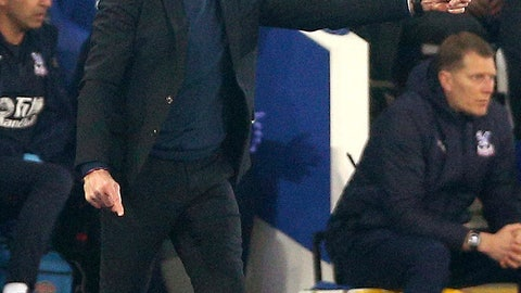 <p>               Leicester City manager Claude Puel gestures on the touchline during the match against Crystal Palace during their English Premier League soccer match at the King Power Stadium in Leicester,England, Saturday Feb. 23, 2019. (Nigel French/PA via AP)             </p>
