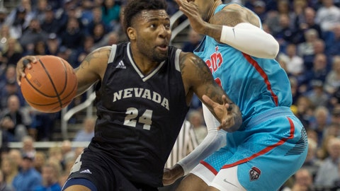 <p>               Nevada forward Jordan Caroline (24) drives past New Mexico guard Vance Jackson (2) in the first half of an NCAA college basketball game in Reno, Nev., Saturday, Feb. 9, 2019. (AP Photo/Tom R. Smedes)             </p>
