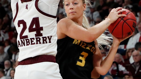 <p>               Missouri guard Sophie Cunningham (3) looks for an open teammate while Mississippi State guard Jordan Danberry (24) defends during the first half of an NCAA college basketball game, Thursday, Feb. 14, 2019, in Starkville, Miss. (AP Photo/Rogelio V. Solis)             </p>
