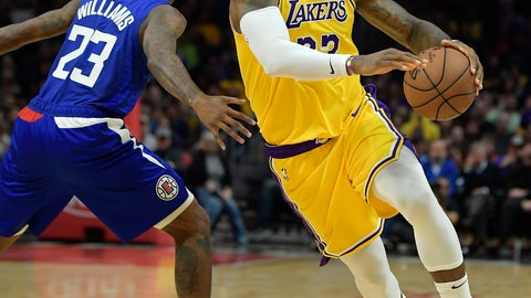 <p>               Los Angeles Lakers forward LeBron James, right, drives by Los Angeles Clippers guard Lou Williams during the second half of an NBA basketball game Thursday, Jan. 31, 2019, in Los Angeles. The Lakers won 123-120. (AP Photo/Mark J. Terrill)             </p>