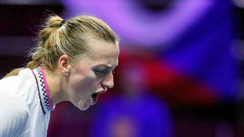 <p>               Petra Kvitova of Czech Republic reacts during the St. Petersburg Ladies Trophy-2019 tennis tournament quarter final match against Donna Vekic of Croatia in St.Petersburg, Russia, Friday, Feb. 1, 2019. (AP Photo/Dmitri Lovetsky)             </p>