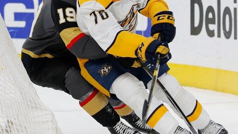 <p>               Nashville Predators defenseman P.K. Subban (76) skates around Vegas Golden Knights right wing Reilly Smith (19) during the second period of an NHL hockey game Saturday, Feb. 16, 2019, in Las Vegas. (AP Photo/John Locher)             </p>
