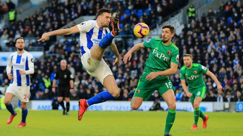 <p>               Brighton & Hove Albion's Shane Duffy, left, and Watford's Craig Cathcart battle for the ball during the English Premier League soccer match at the AMEX Stadium, Brighton, England, Saturday Feb. 2, 2019. (Gareth Fuller/PA via AP)             </p>