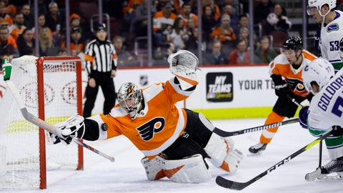 <p>               Philadelphia Flyers' Carter Hart (79) blocks a shot by Vancouver Canucks' Nikolay Goldobin (77) during the third period of an NHL hockey game, Monday, Feb. 4, 2019, in Philadelphia. Philadelphia won 2-1. (AP Photo/Matt Slocum)             </p>