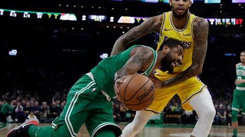 <p>               Boston Celtics guard Kyrie Irving drives against Los Angeles Lakers forward Brandon Ingram in the first quarter of an NBA basketball game, Thursday, Feb. 7, 2019, in Boston. (AP Photo/Elise Amendola)             </p>