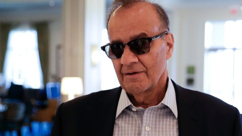 <p>               Major League Baseball chief baseball officer Joe Torre speaks with a reporter at the baseball owners meetings Thursday, Feb. 7, 2019, in Orlando, Fla. (AP Photo/John Raoux)             </p>