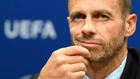 <p>               FILE - In this Wednesday, Sept. 20, 2017 file photo, UEFA president Aleksander Ceferin speaks during the press conference after the meeting of the UEFA Executive Committee at the UEFA headquarters, in Nyon, Switzerland. UEFA President Aleksander Ceferin will get a new four-year term as the leader of European soccer's governing body on Thursday Feb. 7, 2019, as the only candidate. (Laurent Gillieron/Keystone via AP, File)             </p>